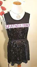 New Simply Vera Wang Womens Size L Sequin Black Tank Top Long Tunic Belt Q8288