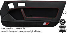 RED STITCH 2X FULL DOOR CARD LEATHER & PU SUEDE COVER FOR MAZDA RX7 FC 86-91