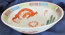 """Chinese Wucai/Fencai Dragon Phoenix Bat Bowl 6.65"""" d."""