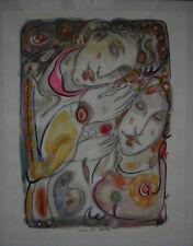 """Peinture sur papier de Dai , """" I love you before for """" , signée"""