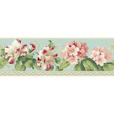 Wallpaper Border White Pink Red Rhododendron Floral on Light Blue With Molding