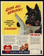 1941 Red Heart Dog Food Scottish Terrier Scotty Dog Reads Newspaper Vintage Ad