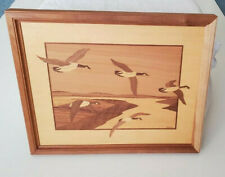 Vintage Wood Inlay Framed Picture Flying Geese Creative Woods Signed Nelson16x13