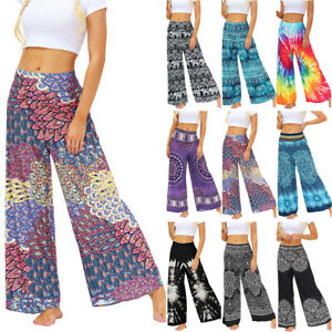Women Boho Wide Leg Hippie Casual Gypsy Yoga Pants Palazzo Baggy Loose Trousers