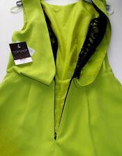 NEW TOPSHOP Lime/Chartreuse & Black Lace Back Playsuit UK Size 8 (EU 36)