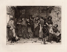 "JACOMB-HOOD 1800s Original Etching ""Payday in a Cotton-mill"" SIGNED Framed COA"