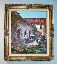 """1978 Edgardo F Garcia Oil Painting On Canvas MISSION HOUSE 27""""x 31"""" Signed Cert."""