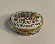"""Halcyon Days Enamel Box-1991 """"A Year to Remember"""" Collectable Mint Condition"""