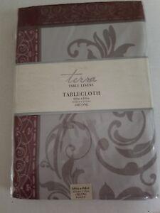 "Leaf Scroll DAMASK Tablecloth Silver and Burgundy 60"" X 84"" Oblong New Elegant"