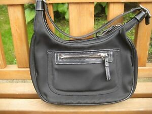 Coach Small Black Hobo Shoulder Bag With Nylon Leather Trim 4449 New With Defect