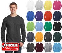 Mens Long Sleeve T-Shirt Cotton Comfort Soft Blank Color Tee Plain Casual PC54LS