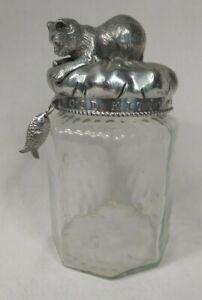 Arthur Court Glass Good Kitty Cat Treat Cannister Storage Jar Aluminum Lid 2002