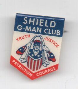"Rare 1930s G-Man Shield Club Celluloid Premium Pinback "" Truth..Justice """