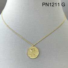 Gold Finished Mini Penny Abraham Lincoln Coin Shape Circle Pendant Necklace