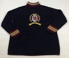 90s TOMMY HILFIGER women's TURTLENECK cotton knit BIG CREST LOGO sweater sz L lg