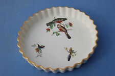PILLIVUYT FRANCE PORCELAINE VINTAGE PLAT MOULE A TARTE DECOR OISEAUX
