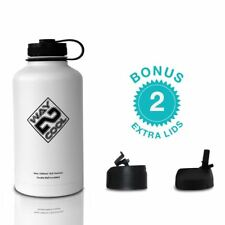 Fitness Sport Water Bottle Stainless Steel Thermos+3 FREE LIDS-Black/White 64 oz