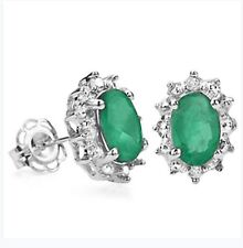 EMERALD & DIAMOND SILVER EARRINGS 1.00 CWT BRIDAL WEAR  EARTH MINED STONES MAY