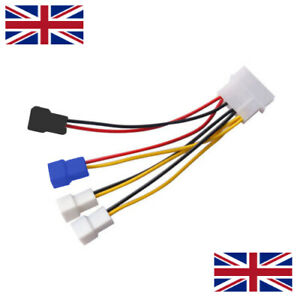 PC Fan Voltage Cable 12v 7v 5v Supports 2/3-Pin Fans to Molex, Y-Splitter