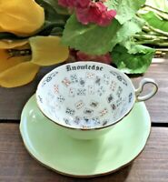 c.1930's AYNSLEY VTG FORTUNE TELLING Teacup & Saucer The Cup of Knowledge- RARE!
