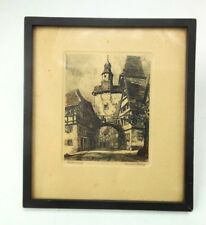 1920s Rothenburg Etching Wood Framed 7 x 6 Inch Street Scene