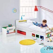 ROOM 2 BUILD BEDROOM KIDS LEGO - SINGLE BED WITH STORAGE, TOY BOX, BOOKSHELF