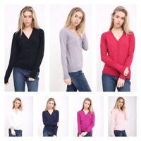Ladies Fine Knit Malwee V Neck & BG Round Neck Button Cardigan L/S Top to XXL