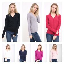 Ladies Fine Knit Malwee V Neck & BG Round Neck Button Cardigan L/S Top to XXL