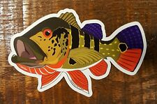"""Fishing Bumper Sticker PEACOCK BASS 5"""" x 3"""" decals saltwater fly fishing"""