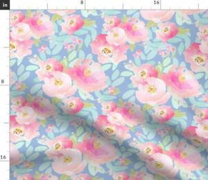 Plush Pink Florals Lavender Bloom Rose Peonies Spoonflower Fabric by the Yard