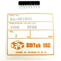 20 x SMTEK 100K 9P8R LOW PROFILE 2% NETWORK ARRAY RESISTOR SIP-9 RA-08104G NEW