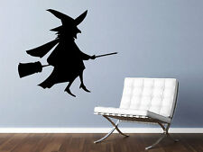"""Witch on a Broom Stick Vinyl Wall Decal 25"""" x 22"""" Graphics Bedroom Living Room"""