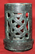Antique hand made bronze candle holder with tray