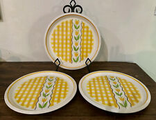 3 Vtg. Mikasa Country Gingham Dinner Plates Maize Plates C7301 Yellow Japan