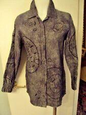 Chico's  Animal Print Jacket, long Sleeves,Blue Gray/Embellishments 100% Silk 1