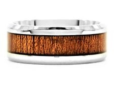 Mahogany wood dark polished stainless steel band ring fathers day gift black box