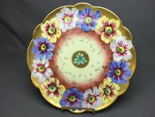 """Haviland Limoges 11&5/8""""Scalloped Plate Blue White Yellow Flowers Gold*Excellent"""