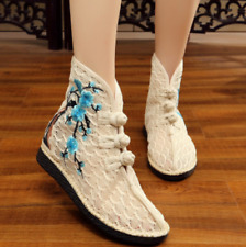 Womens Floral Embroidered Pattern Ankle Boots Casual Fashion Floral Canvas Shoes