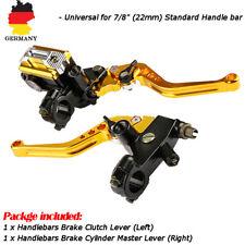 """2x 7/8"""" 22mm Universal Motorrad Bremshebel Kupplungshebel Set Behaelter CNC Alu"""