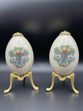 2 Lenox China AUTUMN Pattern Egg on Golden Stand Treasures Collection 1994