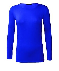 New womens kids girls long sleeve plain basic ladies stretch t-shirt Round Neck
