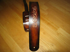 "GUITAR STRAP LEATHER ANTIQUE BROWN CUSTOM MADE ( WITH YOUR NAME) 2 1/2"" W"