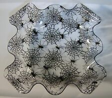 SPIDER Dish w/ Scalloped Edging Plastic Square 6 X 6 for Candy Salad Nuts & more