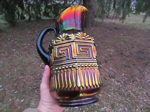 Northwood GREEK KEY ANTIQUE CARNIVAL ART GLASS WATER PITCHER~PURPLE~SPECTACULAR!