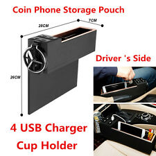 Multifunction 4 USB Coin Phone Storage Box Cup Holder For Car Driver's Side Seat