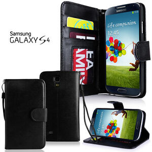 Samsung Galaxy S4 Neu Cover Schwarz Stand Wallet Book Hülle Display Folie