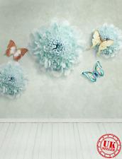 BLUE FLOWER BUTTERFLY WALL BACKDROP BACKGROUND VINYL PHOTO PROP 5X7FT 150x220CM