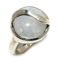 Rainbow Moonstone Gemstone Handmade 925 Sterling Silver Ring Size 7 SR-221
