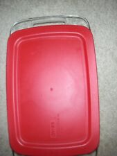 """Pyrex 2 Qt. 7""""x11"""" Clear Glass Casserole Baking Dish With Red Lid Made In USA"""