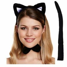 Fancy Dress Cat Set Animal Ears Tail and Bow Party Adult Childrens Costume 12